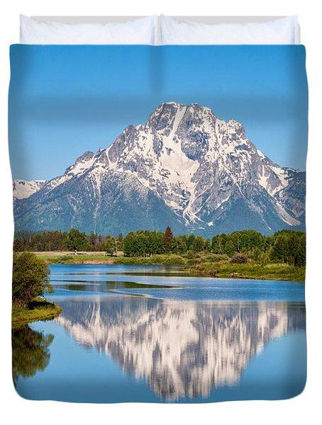 Mount Moran On Snake River Landscape Duvet Cover by Brian Harig