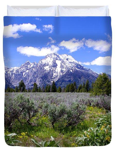 Mount Moran Wildflowers Duvet Cover by Brian Harig