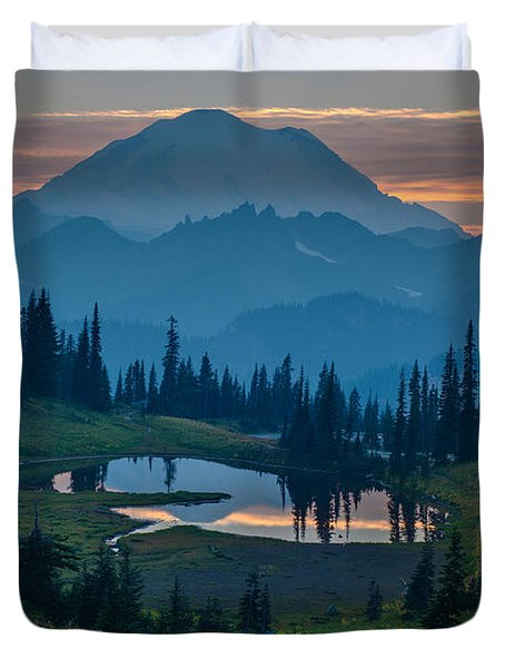 Mount Rainier Layers Duvet Cover by Mike Reid