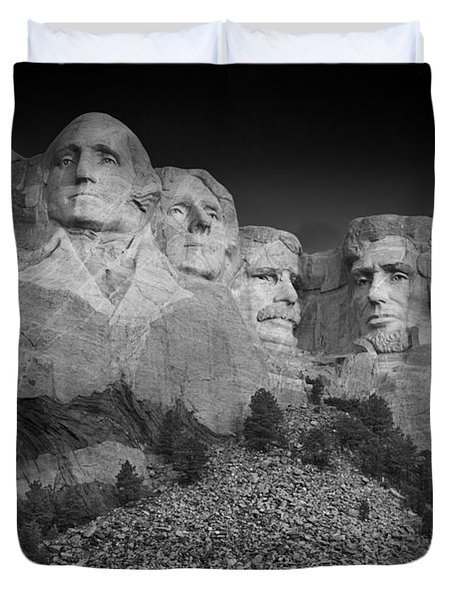 Mount Rushmore South Dakota Dawn  B W Duvet Cover by Steve Gadomski