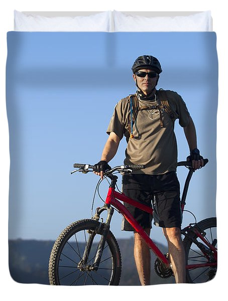 Mountain Biker Duvet Cover by Mike Raabe