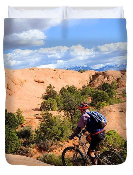 Mountain Biking Moab Slickrock Trail - Utah Duvet Cover by Gary Whitton