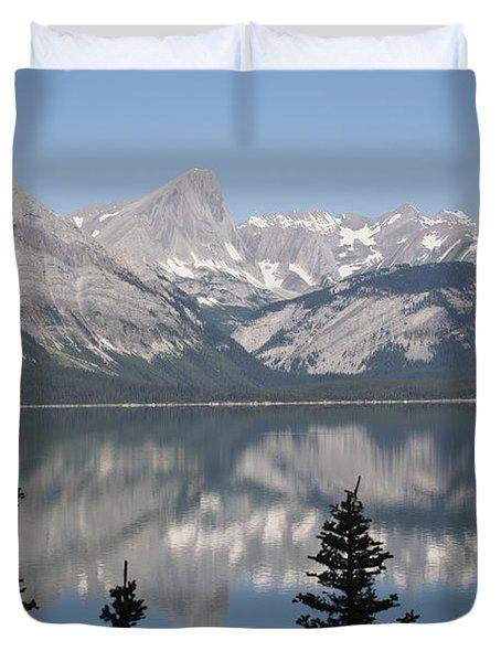 Mountain Lake Reflecting Mountain Range Duvet Cover by Michael Interisano