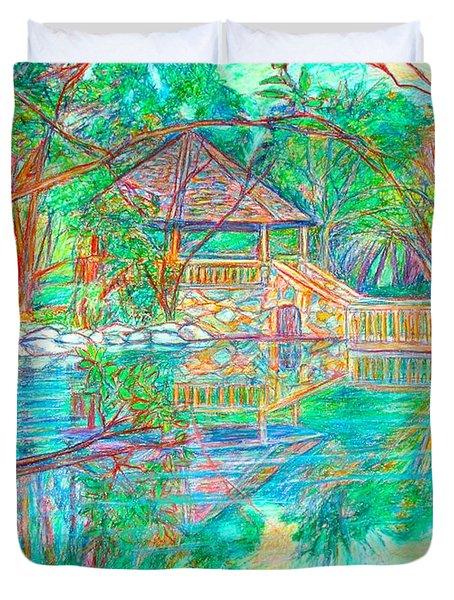 Mountain Lake Reflections Duvet Cover by Kendall Kessler
