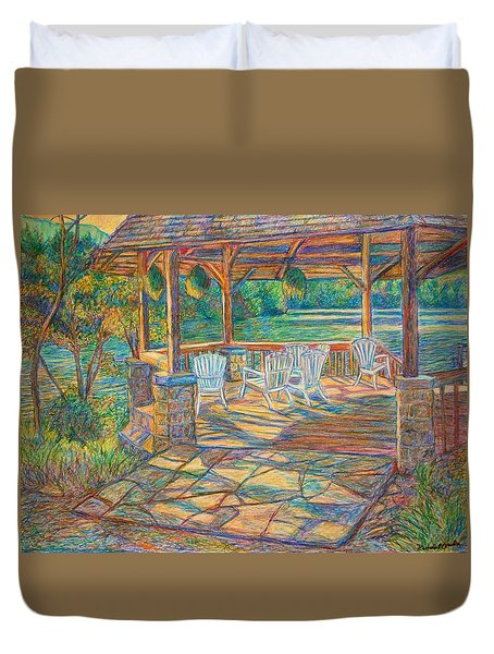 Mountain Lake Shadows Duvet Cover by Kendall Kessler