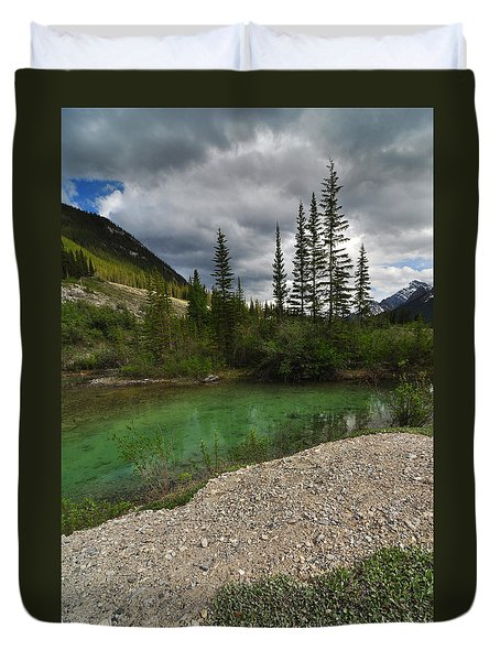 Mountain Scene Near A Small Pond In Kananaskis Country Alberta Canada Duvet Cover by Michael Mckinney
