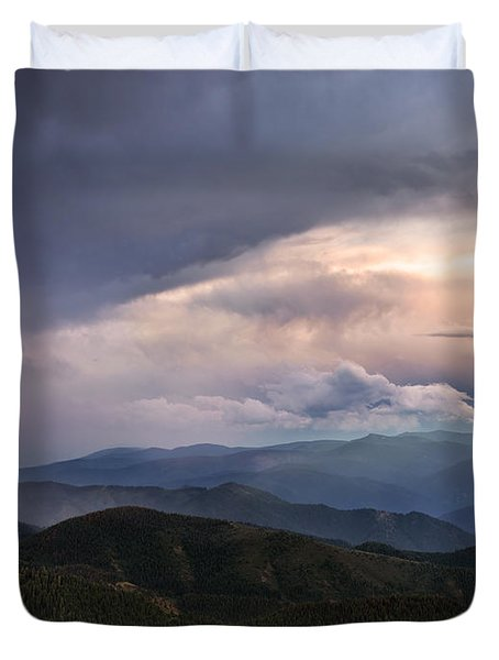 Mountain Storm And Rainbow Duvet Cover by Leland D Howard