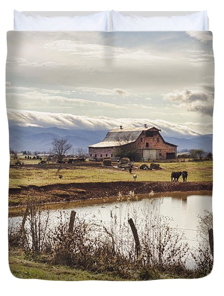 Mountain View Barn Duvet Cover by Heather Applegate