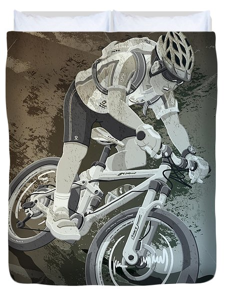 Mountainbike Sports Action Grunge Monochrome Duvet Cover by Frank Ramspott