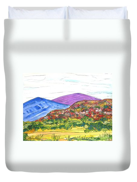 Mountains And South Mesa Duvet Cover by Kerry Bennett