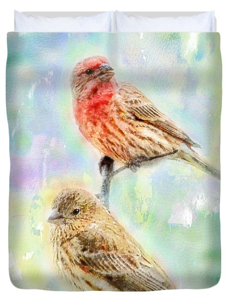 Mr And Mrs House Finch - Digital Paint Duvet Cover by Debbie Portwood