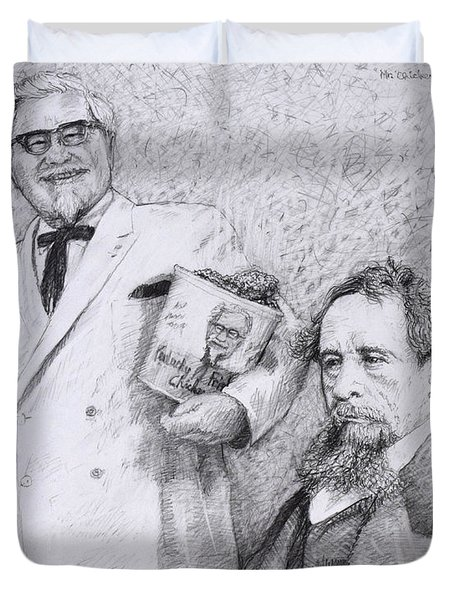Mr Chicken And Mr Dickens Duvet Cover by James W Johnson