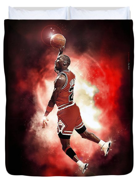 Mr. Michael Jeffrey Jordan Aka Air Jordan Mj Duvet Cover by Nicholas  Grunas