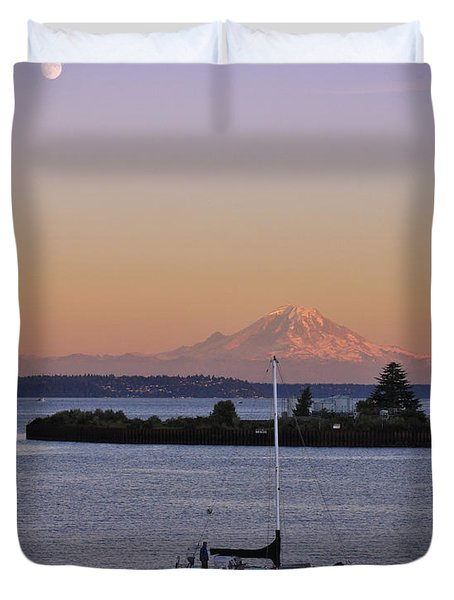 Mt. Rainier Afterglow Duvet Cover by Adam Romanowicz