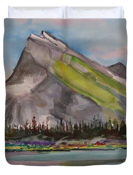 Mt. Rundle Duvet Cover by Mohamed Hirji