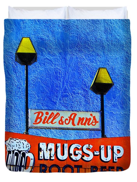 Mugs Up Root Beer Drive In Sign Duvet Cover by Andee Design
