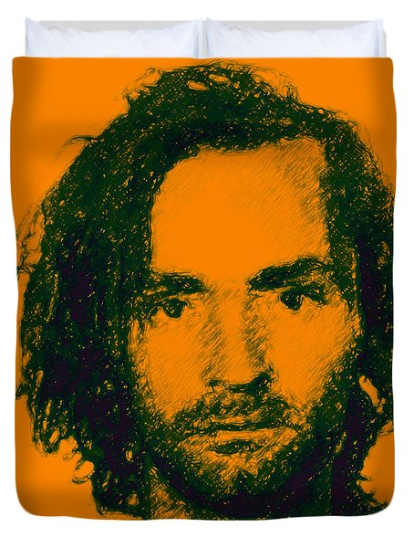Mugshot Charles Manson P0 Duvet Cover by Wingsdomain Art and Photography