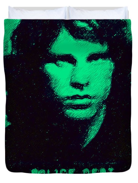 Mugshot Jim Morrison p128 Duvet Cover by Wingsdomain Art and Photography