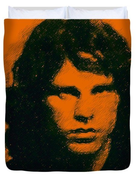 Mugshot Jim Morrison Square Duvet Cover by Wingsdomain Art and Photography