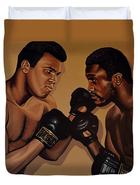 Muhammad Ali And Joe Frazier Duvet Cover by Paul Meijering