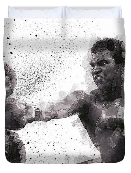 Muhammad Ali Vs Joe Frazier Duvet Cover by Daniel Hagerman