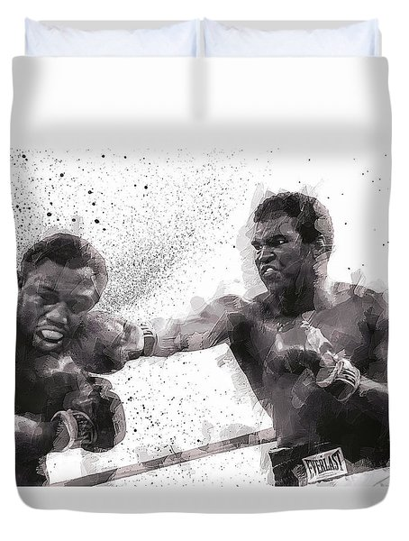 Muhammad Ali Vs Joe Frazier Duvet Cover by Daniel Hagerman