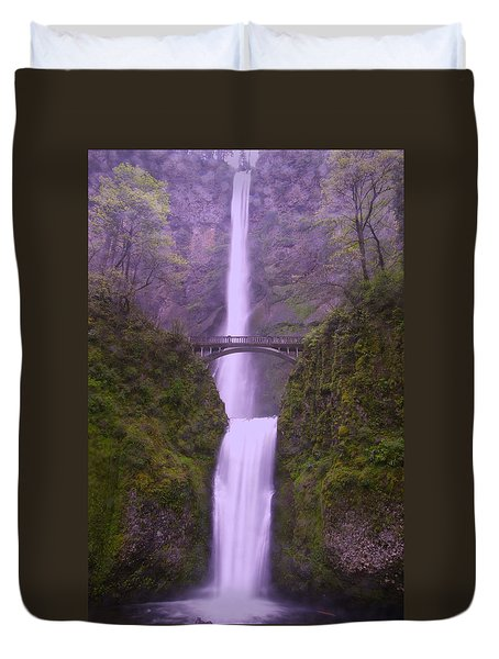 Multnomah In The Drizzling Rain Duvet Cover by Jeff  Swan