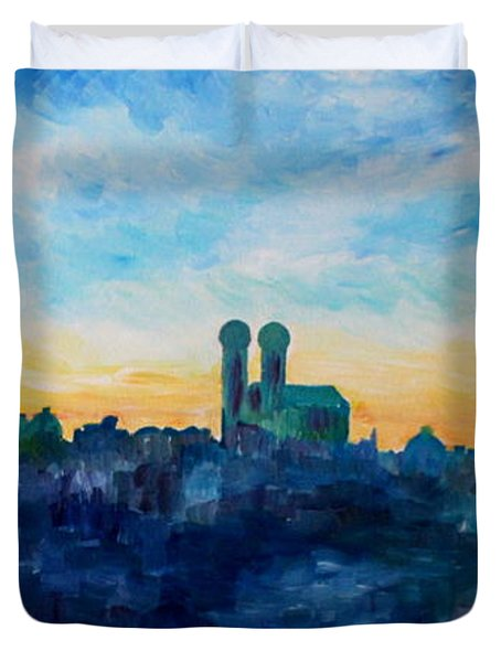 Munich Skyline With Church Of Our Lady Duvet Cover by M Bleichner