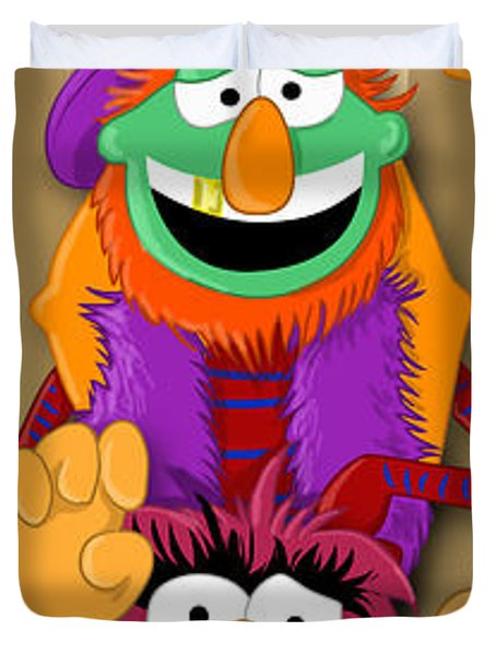 Muppet's Stretching Room Portrait #1 Duvet Cover by Lisa Leeman