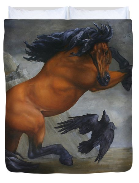 Murder Of Crows Duvet Cover by Lisa Phillips Owens