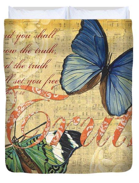 Musical Butterflies 3 Duvet Cover by Debbie DeWitt