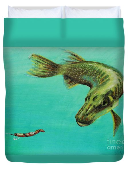Muskie And The Lure Duvet Cover by Jeanne Fischer
