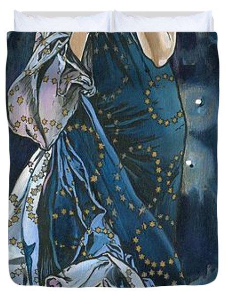 My Acrylic Painting As An Interpretation Of The Famous Artwork Of Alphonse Mucha - Moon - Duvet Cover by Elena Yakubovich