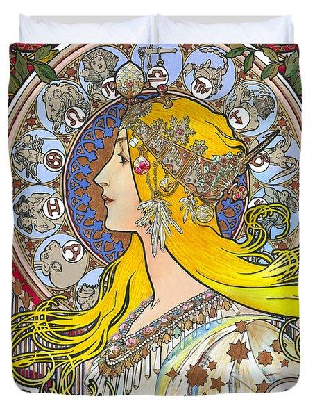My Acrylic Painting As An Interpretation Of The Famous Artwork Of Alphonse Mucha - Zodiac - Duvet Cover by Elena Yakubovich