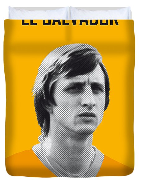 My Cruijff Soccer Legend Poster Duvet Cover by Chungkong Art