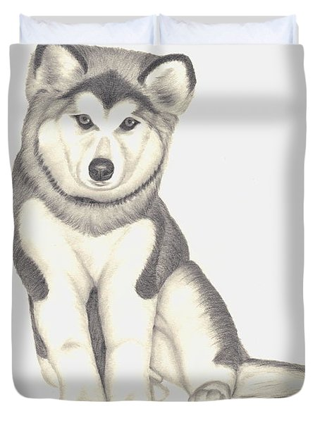 My Husky Puppy-misty Duvet Cover by Patricia Hiltz