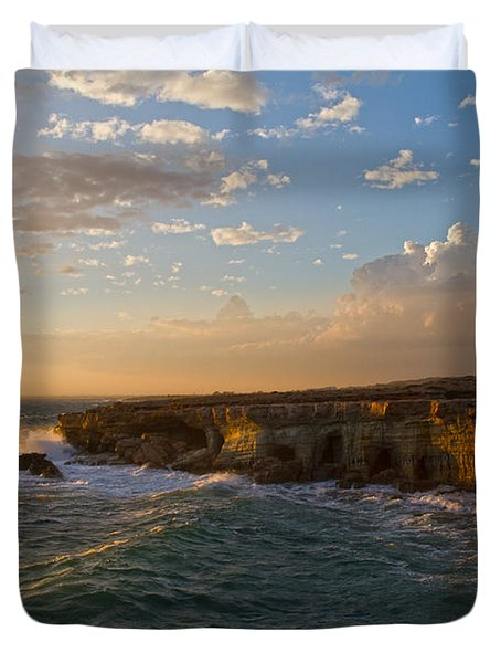 my land is the sea Duvet Cover by Stylianos Kleanthous