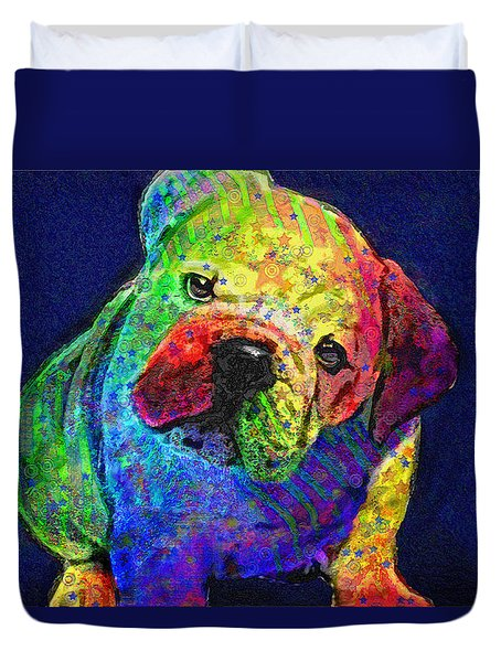 my psychedelic bulldog Duvet Cover by Jane Schnetlage