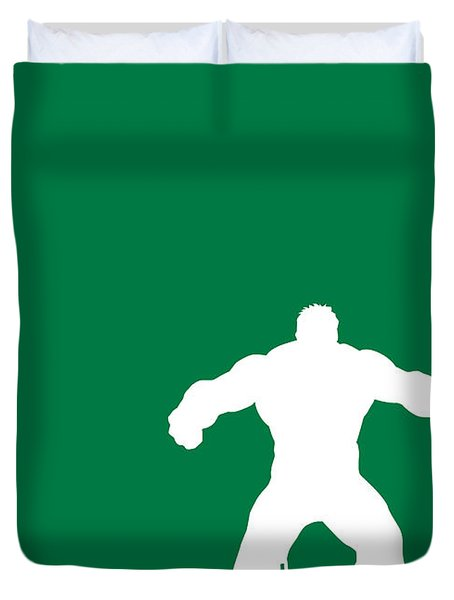 My Superhero 01 Angry Green Minimal Poster Duvet Cover by Chungkong Art