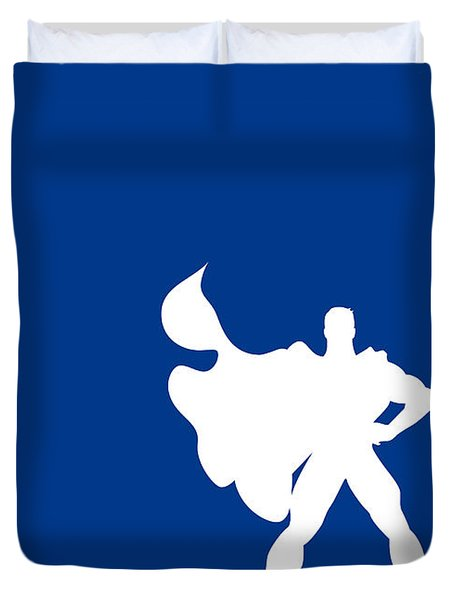 My Superhero 03 Super Blue Minimal Poster Duvet Cover by Chungkong Art