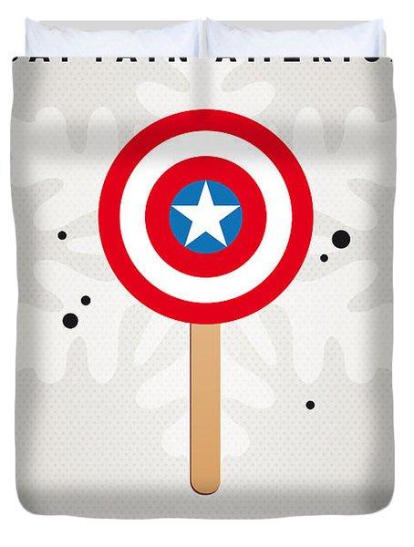 My Superhero Ice Pop - Captain America Duvet Cover by Chungkong Art