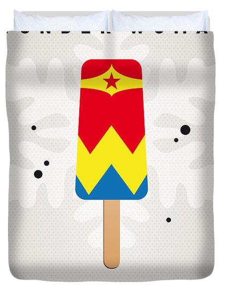 My Superhero Ice Pop - Wonder Woman Duvet Cover by Chungkong Art