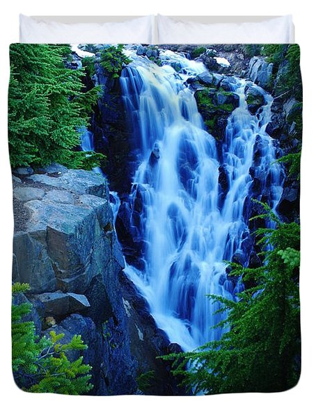 Myrtle Falls Duvet Cover by Jeff Swan