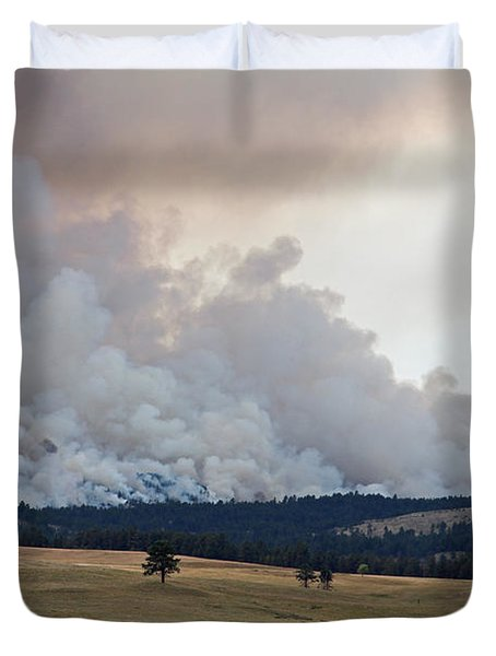 Duvet Cover featuring the photograph Myrtle Fire West Of Wind Cave National Park by Bill Gabbert