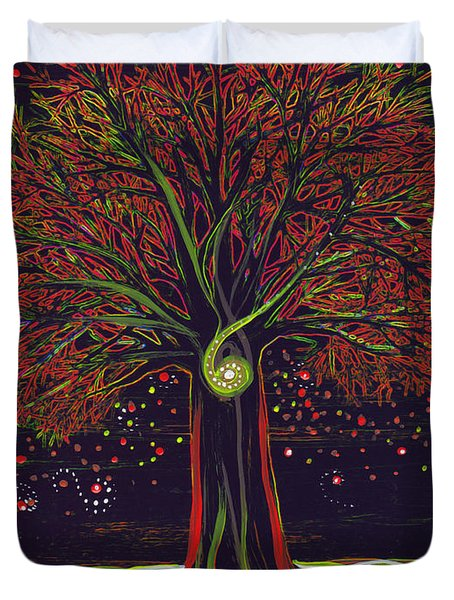 Mystic Spiral Tree Red By Jrr Duvet Cover by First Star Art