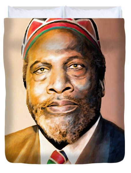 Mzee Jomo Kenyatta Duvet Cover by Anthony Mwangi