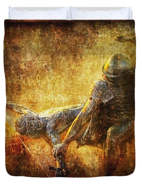 Nailed to the Cross Via Dolorosa 11 Duvet Cover by Lianne Schneider