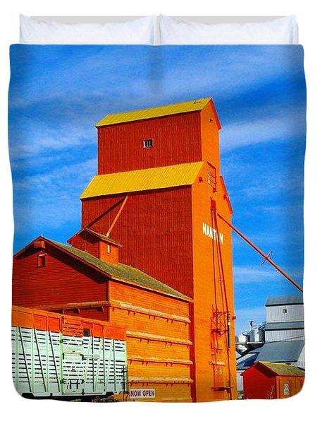 Nanton Grain Elevators  Duvet Cover by Jeff Swan