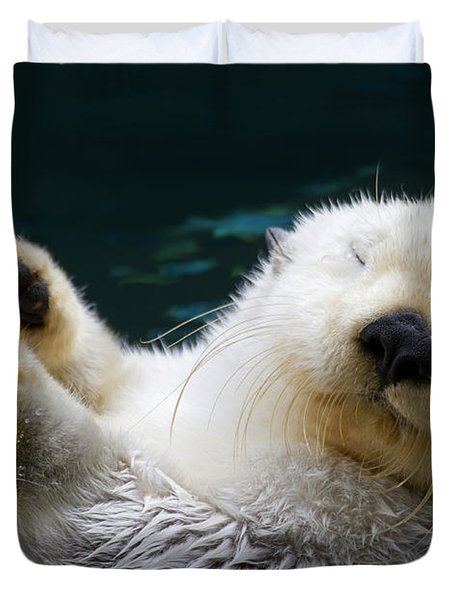Napping On The Water Duvet Cover by Mike  Dawson