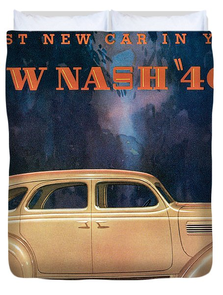 Nash 400 - Vintage Car Poster Duvet Cover by World Art Prints And Designs
